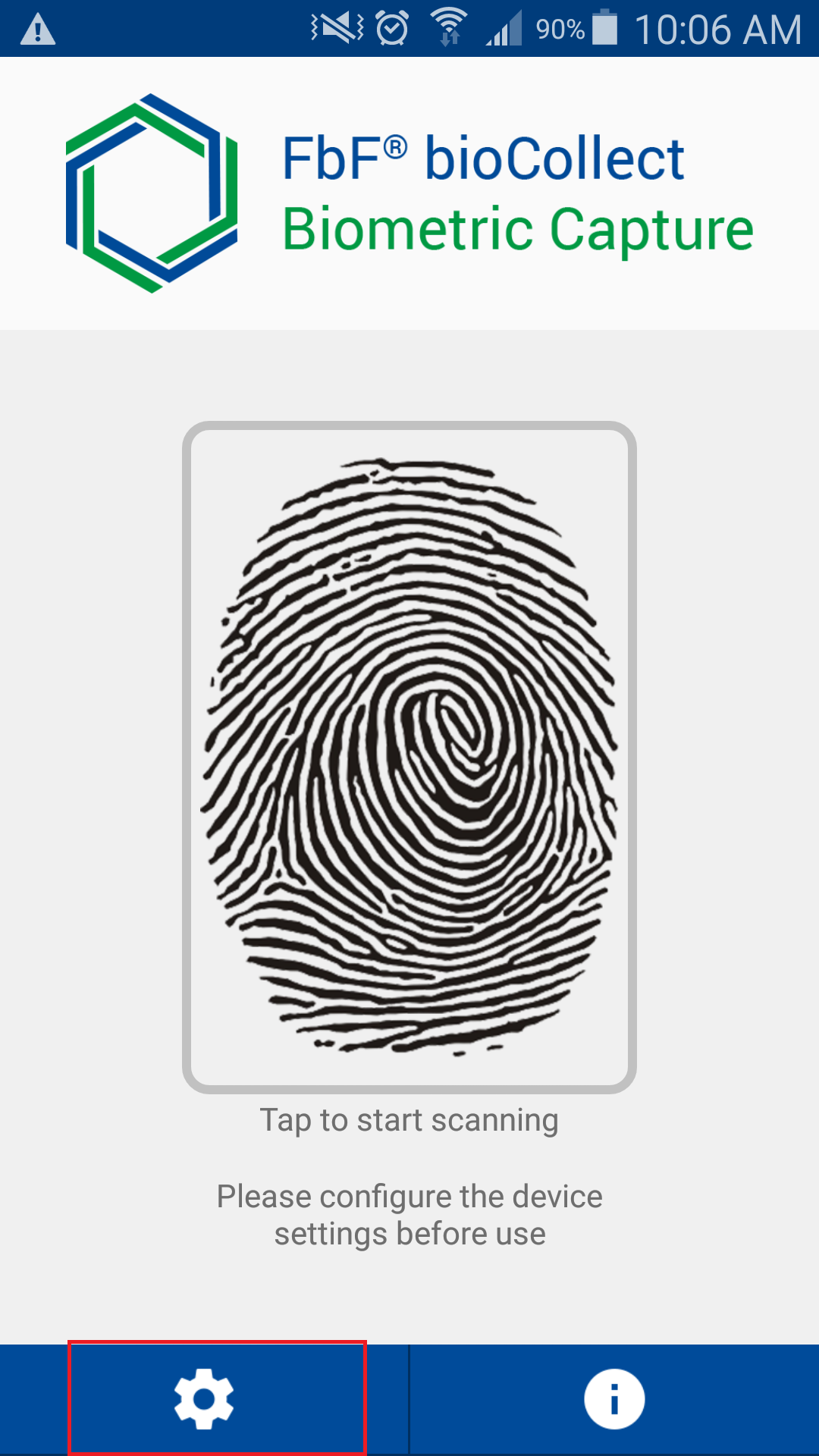 Click on the Settings button to configure your fingerprint scanner.
